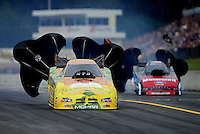 Oct. 7, 2012; Mohnton, PA, USA: NHRA funny car driver Johnny Gray during the Auto Plus Nationals at Maple Grove Raceway. Mandatory Credit: Mark J. Rebilas-