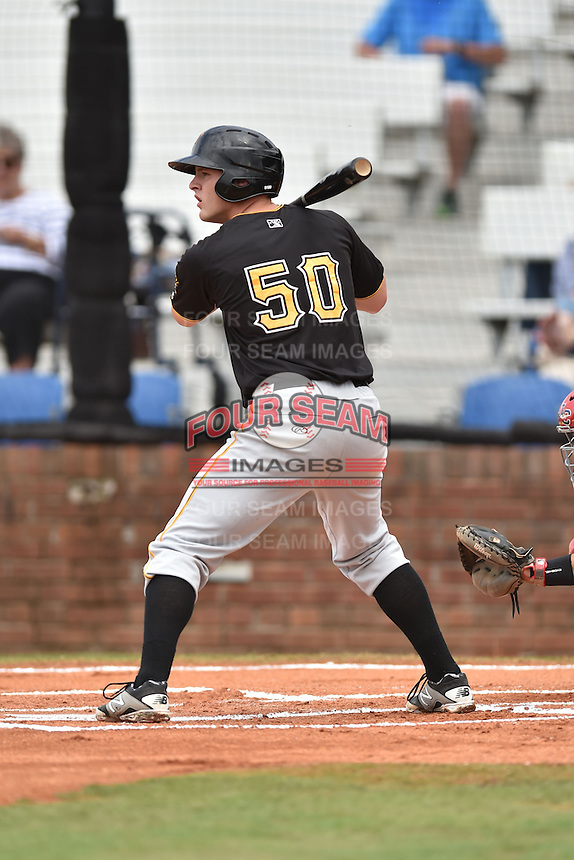 Bristol Pirates first baseman Jerrick Suiter #50 awaits a pitch during a game against the Johnson City Cardinals at Howard Johnson Field July 20, 2014 in Johnson City, Tennessee. The Pirates defeated the Cardinals 4-3. (Tony Farlow/Four Seam Images)