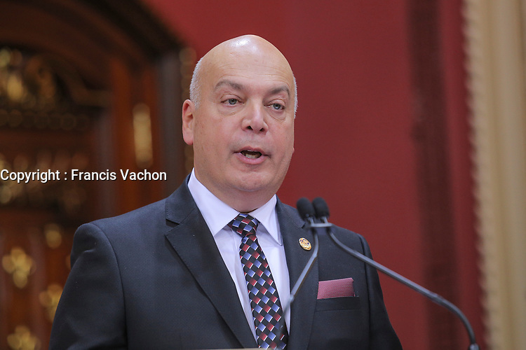 Robert Poeti is sworn in as Ministre delegue ‡ líintegrite des marches publics et aux Ressources informationnelles (Minister of integrity of public markets) of the new Liberal cabinet at the National Assembly in Quebec city October 11, 2017.<br /> <br /> PHOTO :  Francis Vachon - Agence Quebec Presse