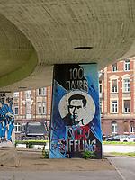 Brücke mitWandbild, Mannheim, Baden-Württemberg, Deutschland, Europa<br /> Bridge with mural, Mannheim, Baden-Wuerttemberg, Germany, Europe