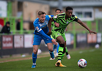 Tom Beadling of Barrow & Ebou Adams of FGR during the Sky Bet League 2 match between Forest Green Rovers and Barrow at The New Lawn, Nailsworth on Tuesday 27th April 2021. (Credit: Prime Media Images I MI News)
