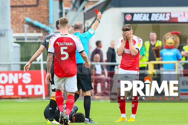 Wes Burns of Fleetwood Town is sent off by referee A Haines during the Sky Bet League 1 match between Fleetwood Town and Bradford City at Highbury Stadium, Fleetwood, England on 1 September 2018. Photo by Thomas Gadd.
