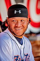 18 July 2018: New Hampshire Fisher Cats outfielder Harold Ramirez chats in the dugout during a game against the Trenton Thunder at Northeast Delta Dental Stadium in Manchester, NH. The Fisher Cats defeated the Thunder 3-2 in a 7-inning, second game of the day. Mandatory Credit: Ed Wolfstein Photo *** RAW (NEF) Image File Available ***