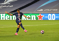 23rd August 2020, Estádio da Luz, Lison, Portugal; UEFA Champions League final, Paris St Germain versus Bayern Munich;  Kylian Mbappe of Paris Saint-Germain shoots on goal