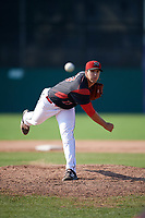 Batavia Muckdogs relief pitcher Colton Hock (13) delivers a warmup pitch during the second game of a doubleheader against the Williamsport Crosscutters on August 20, 2017 at Dwyer Stadium in Batavia, New York.  Batavia defeated Williamsport 4-3.  (Mike Janes/Four Seam Images)