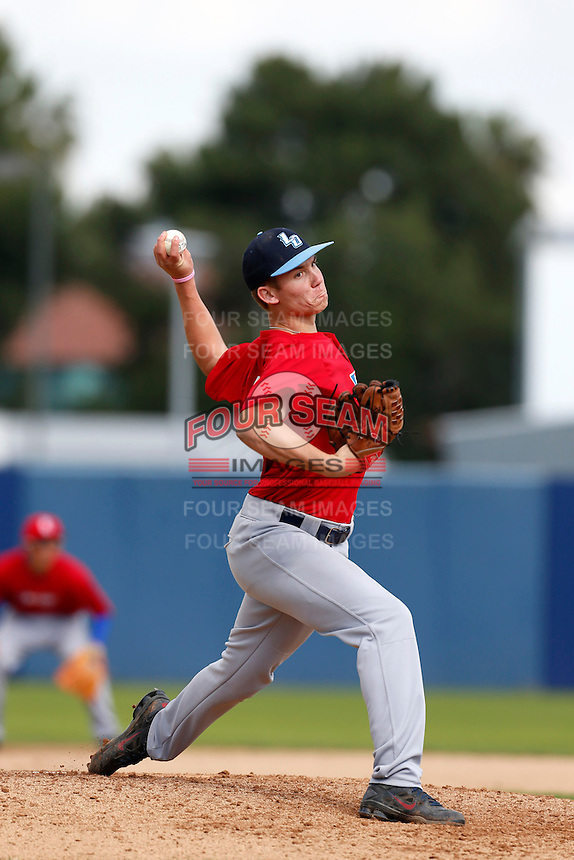 Christopher Kohler of Los Osos High School in Rancho Cucamonga, California participates in the Southern California scouts game for high school seniors at the Urban Youth Academy on February 9, 2013 in Compton, California. (Larry Goren/Four Seam Images)