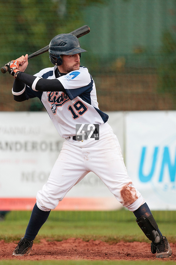 16 October 2010: Romain Martinez-Scott of Savigny is seen at bat during Rouen 16-4 win over Savigny, during game 1 of the French championship finals, in Savigny sur Orge, France.