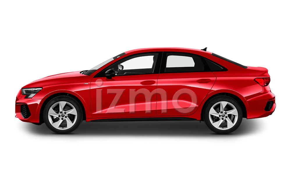 Driver side profile view of a 2020 Audi A3 S Line 4 Door Sedan