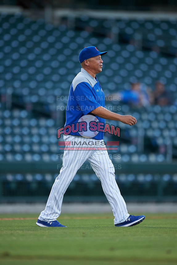 AZL Cubs 1 manager Carmelo Martinez walks to the mound during an Arizona League game against the AZL Padres 1 on July 5, 2019 at Sloan Park in Mesa, Arizona. The AZL Cubs 1 defeated the AZL Padres 1 9-3. (Zachary Lucy/Four Seam Images)