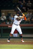 Scottsdale Scorpions center fielder Ronnie Dawson (4), of the Houston Astros organization, at bat during an Arizona Fall League game against the Mesa Solar Sox on October 9, 2018 at Scottsdale Stadium in Scottsdale, Arizona. The Solar Sox defeated the Scorpions 4-3. (Zachary Lucy/Four Seam Images)