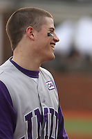 James Madison University outfielder Colby Roberts #3 before a game against the Coastal Carolina Chanticleers at Watson Stadium at Vrooman Field on February 17, 2012 in Conway, SC.  Coastal Carolina defeated James Madison 7-1.  (Robert Gurganus/Four Seam Images)