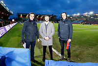 Photo: Richard Lane/Richard Lane Photography. Harlequins v Wasps.  European Rugby Champions Cup. 13/01/2018. Sky Sports' Alex Payne (lt) and Will Greenwood (rt) with Wasps' Elliot Daly (c).