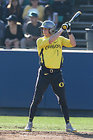 Connor Hofmann #1 of the Oregon Ducks bats against the Loyola Marymount Lions at Page Stadium on February 23, 2014 in Los Angeles, California. Oregon defeated Loyola, 4-3. (Larry Goren/Four Seam Images)