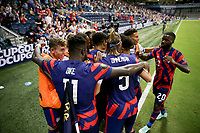 KANSAS CITY, KS - JULY 15: Miles Robinson #12 of the United States scores and celebrates during a game between Martinique and USMNT at Children's Mercy Park on July 15, 2021 in Kansas City, Kansas.