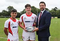 Ulster Rugby Schools 2018-2019<br /> <br /> BRA players Brandon Hassan and Tom Stewart with Danske Bank representative Ian Russell.<br /> <br /> Photo by John Dickson / DICKSONDIGITAL
