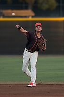 AZL Giants Black shortstop Francisco Medina (19) throws to first base during an Arizona League game against the AZL Athletics at the San Francisco Giants Training Complex on June 19, 2018 in Scottsdale, Arizona. AZL Athletics defeated AZL Giants Black 8-3. (Zachary Lucy/Four Seam Images)