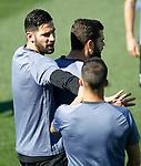 Real Madrid's Kiko Casilla, Nacho Fernandez and Lucas Vazquez during training session. April 17,2017.(ALTERPHOTOS/Acero)