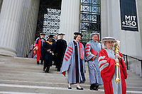 3 June 2011, Cambridge, MA - MIT Commencement..The MIT Corporation, led by MIT president Susan Hockfield, exits onto Massachusetts Avenue on the way to the 2011 commencement ceremony at the Massachusetts Institute of Technology....Photo by M. Scott Brauer for MIT News