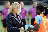 Anita Asante (5) of Sky Blue FC is honored before the game for her role in the FIFA Women's World Cup by Citi representative .The Philadelphia Independence defeated Sky Blue FC 2-1 during a Women's Professional Soccer (WPS) match at Leslie Quick Stadium in Chester, PA, on August 7, 2011.