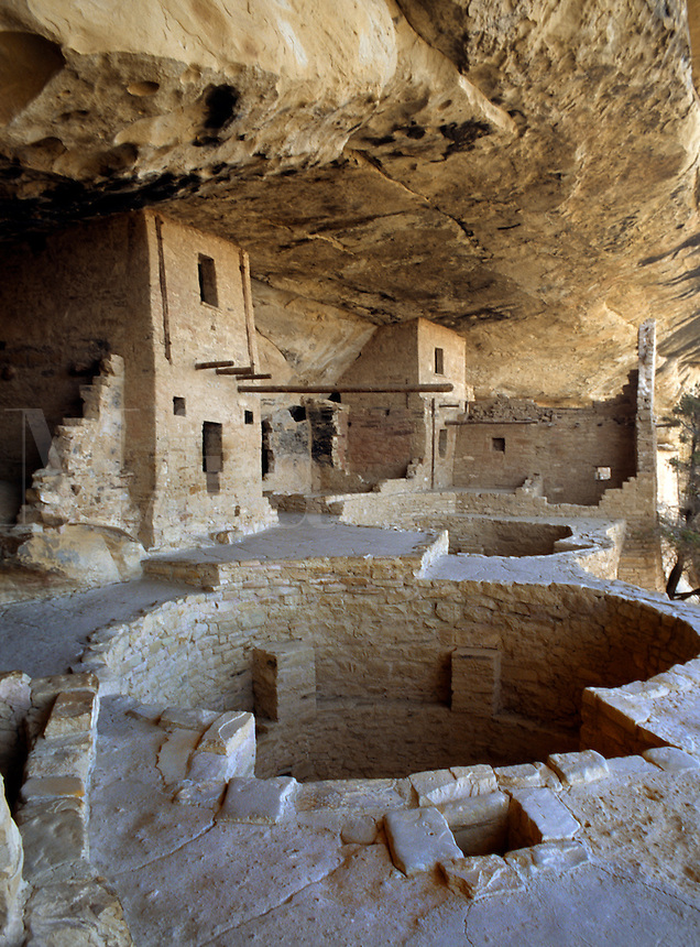 CEREMONIAL KIVAS are some of the 35-40 rooms of BALCONY HOUSE - MESA VERDE NP .