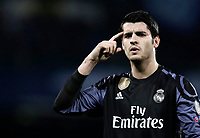 Real Madrid Alvaro Morata celebrates after scoring during the round of 16 second leg soccer match Champions League between Napoli and Real Madrid at the San Paolo stadium, 7 March 2017. Real Madrid won 3-1 to reach the quarter-finals.<br /> UPDATE IMAGES PRESS/Isabella Bonotto