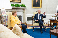 United States President Joe Biden, left, meets  Chancellor Dr. Angela Merkel of Germany on the Oval Office of the White House in Washington, DC on Thursday, July 15, 2021.  <br /> Credit: Doug Mills / Pool via CNP /MediaPunch<br /> CAP/MPI/RS<br /> ©RS/MPI/Capital Pictures