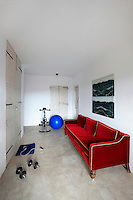 red classic sofa