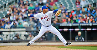 11 April 2012: New York Mets pitcher Miguel Batista in action against the Washington Nationals at Citi Field in Flushing, New York. The Nationals shut out the Mets 4-0 to take the rubber match of their 3-game series. Mandatory Credit: Ed Wolfstein Photo