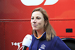 Annemiek Van Vleuten (NED) talks to Dutch media at sign on for the start of the Women Elite Road Race of the UCI World Championships 2019 running 149.4km from Bradford to Harrogate, England. 28th September 2019.<br /> Picture: Eoin Clarke | Cyclefile<br /> <br /> All photos usage must carry mandatory copyright credit (© Cyclefile | Eoin Clarke)