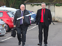 COPY BY TOM BEDFORD<br /> Pictured: John Talbot (R) the father of Ashley arrives at Aberdare Coroner's Court, Wales, UK. Monday 13 February 2017<br /> Re: Inquest into the death of teenager Ashley Daniel Talbot held at Aberdare Coroner's Court.<br /> Ashley, 15, died at the scene and another boy, 13, suffered minor injuries in December 2014, following a crash involving a school minibus en route to a rugby match,at Maesteg Comprehensive School in south Wales.