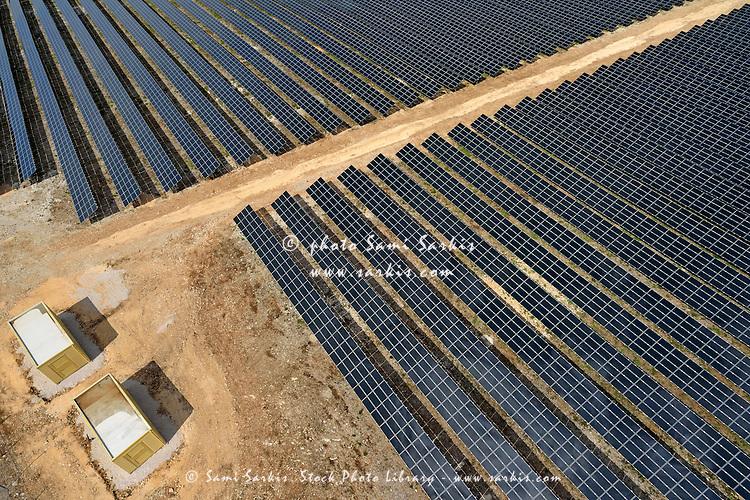 Solar Panels in Farm, aerial view