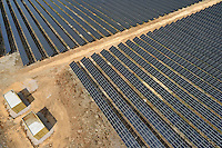 Solar Panels in Farm, aerial view