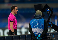 4th November 2020, Stamford Bridge, London, England;  Referee Felix Zwayer reviews a monitor for a VAR decision during the UEFA Champions League Group E match between Chelsea and Rennes at Stamford Bridge