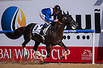 MAR 28,2015:Manark,ridden by Dane O'Neill,wins the Dubai Kahayla Classic at Meydan in Dubai,UAE. Kazushi Ishida/ESW/CSM