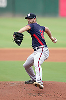 Starting pitcher A.J. Puckett (20) of the Rome Braves in a game against the Greenville Drive on Sunday, August 8, 2021, at Fluor Field at the West End in Greenville, South Carolina. (Tom Priddy/Four Seam Images)