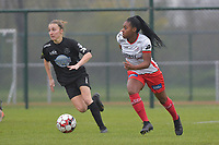 Zulte Waregem's forward Esther Buabadi (R) and Woluwe's Selina Gijsbrechts (L)  pictured during a female soccer game between SV Zulte - Waregem and White Star Woluwe on the 9th matchday of the 2020 - 2021 season of Belgian Scooore Women s SuperLeague , saturday 12 th of December 2020  in Waregem , Belgium . PHOTO SPORTPIX.BE | SPP | DIRK VUYLSTEKE