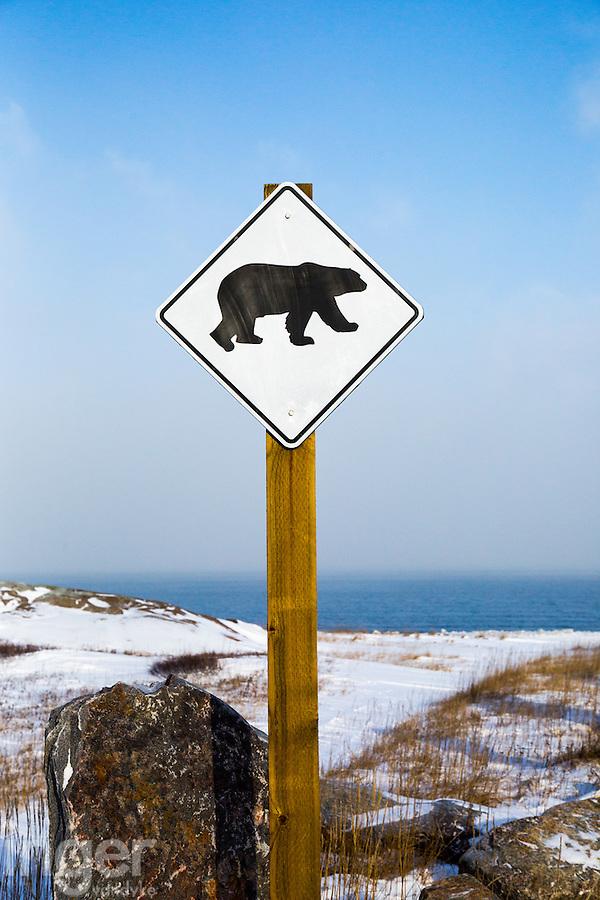 Polar Bear warning sign in Churchill