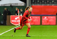 Belgian Tessa Wullaert pictured being substituted by Belgian Hannah Eurlings during a female soccer game between the national teams of Belgium , called the Red Flames and Switzerland on the 8 th and last matchday in group H for the qualification for the Womens EURO 2022 in England , on Tuesday 1 th of December 2020  in Leuven , Belgium . PHOTO SPORTPIX.BE | SPP | DAVID CATRY