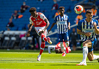 20th June 2020, American Express Stadium, Brighton, Sussex, England; Premier League football, Brighton versus Arsenal ;  Arsenals Bukayo Saka shoots during the Premier League match