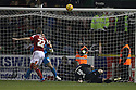 Darren Ward of Swindon sees his header hit the crossbar<br />  - Swindon Town v Stevenage - Johnstone's Paint Trophy - Southern Section Semi-final  - County Ground, Swindon - 10th December, 2013<br />  © Kevin Coleman 2013