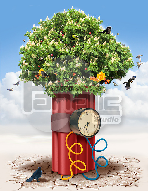Illustrative image of tree wrapped with time bomb representing threat to nature