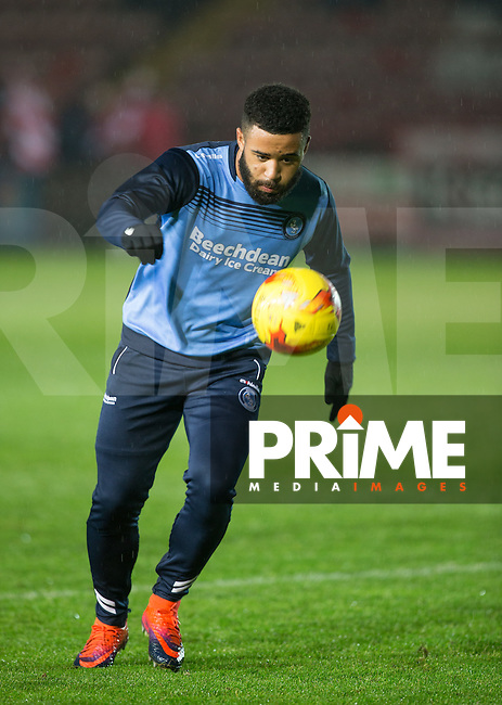 Alex Jakubiak of Wycombe Wanderers ahead of the Sky Bet League 2 match between Exeter City and Wycombe Wanderers at St James' Park, Exeter, England on 31 January 2017. Photo by PRiME Media Images / Andy Rowland.