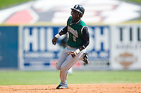 Augusta second baseman Marcus Sanders (2) goes from first to third on a base hit versus Kannapolis at Fieldcrest Cannon Stadium in Kannapolis, NC, Wednesday, May 2, 2007.