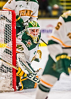 19 January 2018: University of Vermont Catamount Goaltender Stefanos Lekkas, a Sophomore from Elburn, IL, in first period action against the University of Massachusetts Lowell Riverhawks at Gutterson Fieldhouse in Burlington, Vermont. The Riverhawks rallied to defeat the Catamounts 3-2 in overtime of their Hockey East matchup. Mandatory Credit: Ed Wolfstein Photo *** RAW (NEF) Image File Available ***