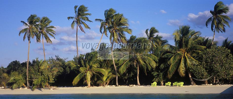 Iles Bahamas /Ile d'Andros/South Andros: la plage et les palmiers de l'Eco-Lodge-Tiamo Resorts // Bahamas Islands / Andros Island / South Andros: the beach and palm trees of Eco-Lodge-Tiamo Resorts
