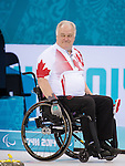 Sochi, RUSSIA - Mar 15 2014 - Jim Armstrong as Canada takes on Russia in the Gold Medal Wheechair Curling match at the 2014 Paralympic Winter Games in Sochi, Russia.  (Photo: Matthew Murnaghan/Canadian Paralympic Committee)