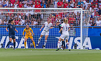 PARIS,  - JUNE 28: Becky Sauerbrunn #4 heads the ball during a game between France and USWNT at Parc des Princes on June 28, 2019 in Paris, France.