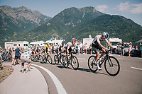 peloton led by Wout Poels (NED/SKY) & Michal Kwiatkowski (POL/SKY) up the final climb of the day (in Spain!): the Col du Portillon (Cat1/1292m)<br /> <br /> Stage 16: Carcassonne > Bagnères-de-Luchon (218km)<br /> <br /> 105th Tour de France 2018<br /> ©kramon