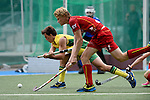 GER - Mannheim, Germany, May 25: During the U16 Boys match between Australia (yellow) and Belgium (red) during the international witsun tournament on May 25, 2015 at Mannheimer HC in Mannheim, Germany. Final score 4-3 (1-1). (Photo by Dirk Markgraf / www.265-images.com) *** Local caption ***