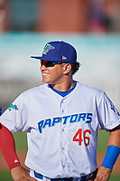 Alvaro Rubi (46) of the Ogden Raptors before the game against the Orem Owlz at Lindquist Field on June 19, 2018 in Ogden, Utah. The Raptors defeated the Owlz 7-2. (Stephen Smith/Four Seam Images)